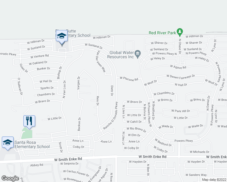 map of restaurants, bars, coffee shops, grocery stores, and more near 22079 Dietz Drive in Maricopa