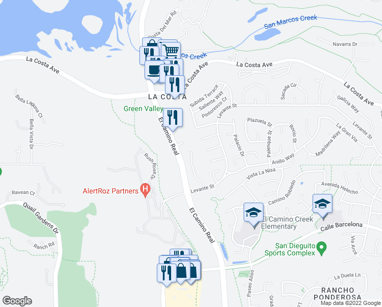 map of restaurants, bars, coffee shops, grocery stores, and more near 7747 Caminito Monarca in Carlsbad