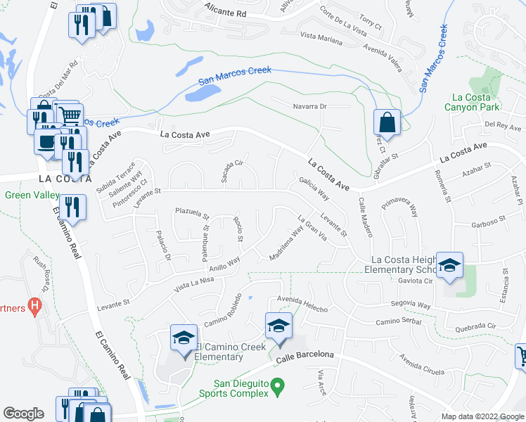 map of restaurants, bars, coffee shops, grocery stores, and more near 7728 Lucia Court in Carlsbad