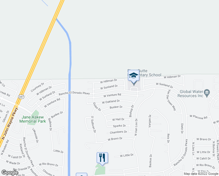 map of restaurants, bars, coffee shops, grocery stores, and more near 42527 Sunland Drive in Maricopa