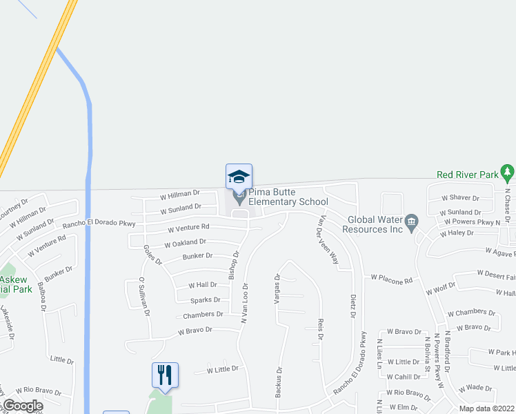 map of restaurants, bars, coffee shops, grocery stores, and more near 22658 Kennedy Drive in Maricopa