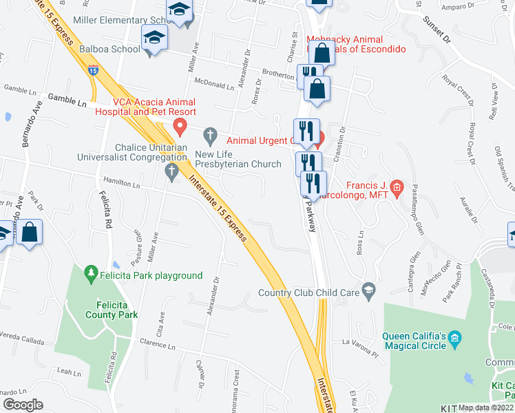 map of restaurants, bars, coffee shops, grocery stores, and more near 401 Rancho La Mirada