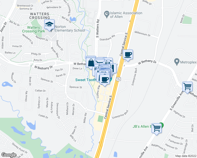 map of restaurants, bars, coffee shops, grocery stores, and more near Garden Park Drive in Allen
