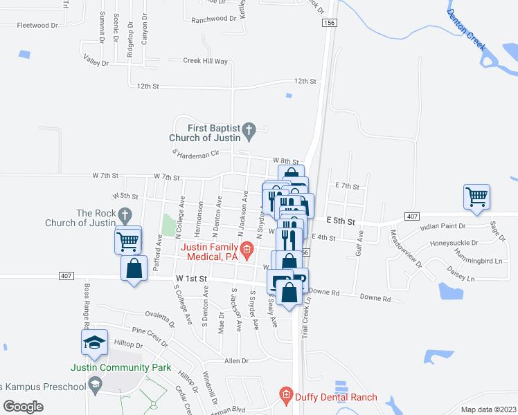 Map Of Justin Texas.302 West 5th Street Justin Tx Walk Score