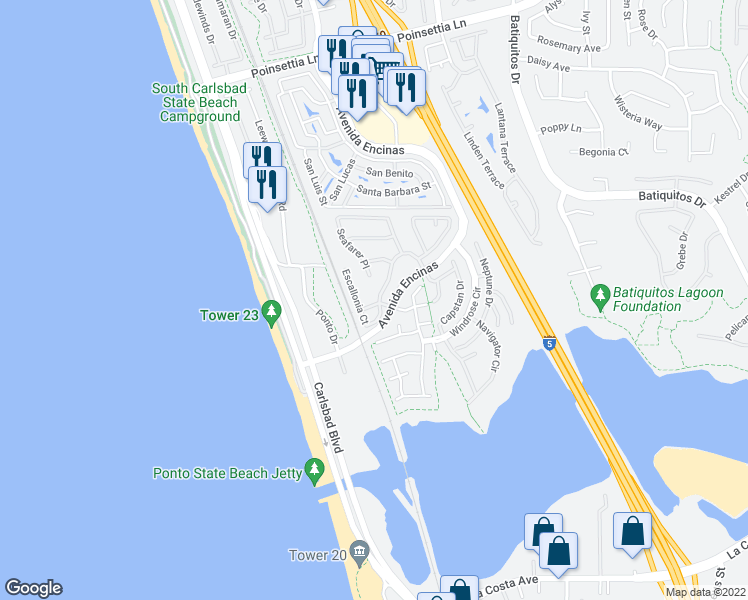 map of restaurants, bars, coffee shops, grocery stores, and more near 7397 Portage Way in Carlsbad