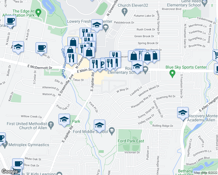 map of restaurants, bars, coffee shops, grocery stores, and more near 152 Roaming Road Drive in Allen