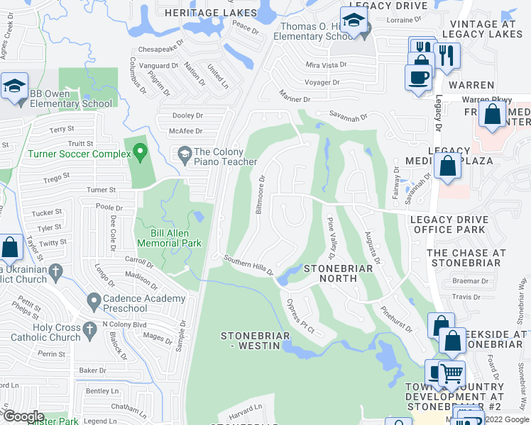 map of restaurants, bars, coffee shops, grocery stores, and more near 4621 Shadow Ridge Drive in Frisco