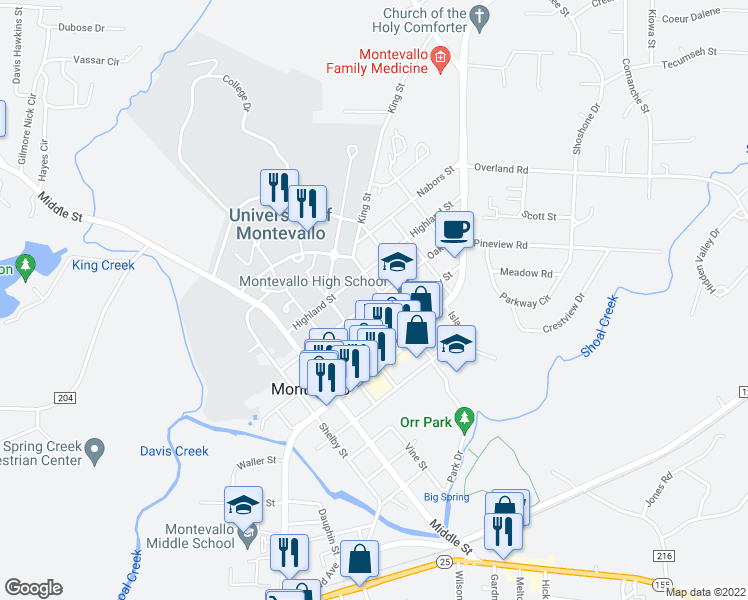 map of restaurants, bars, coffee shops, grocery stores, and more near 980 Oak Street in Montevallo