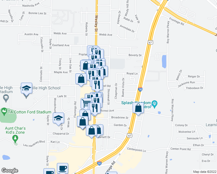 map of restaurants, bars, coffee shops, grocery stores, and more near 2610 Terrell Road in Greenville