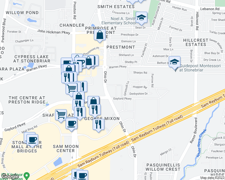 map of restaurants, bars, coffee shops, grocery stores, and more near 9600 Gaylord Parkway in Frisco
