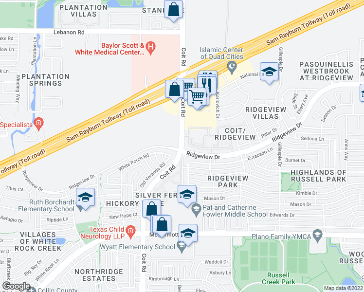 map of restaurants, bars, coffee shops, grocery stores, and more near 9600 Coit Road in Plano
