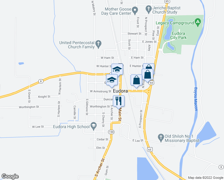map of restaurants, bars, coffee shops, grocery stores, and more near 143 North Archer Street in Eudora