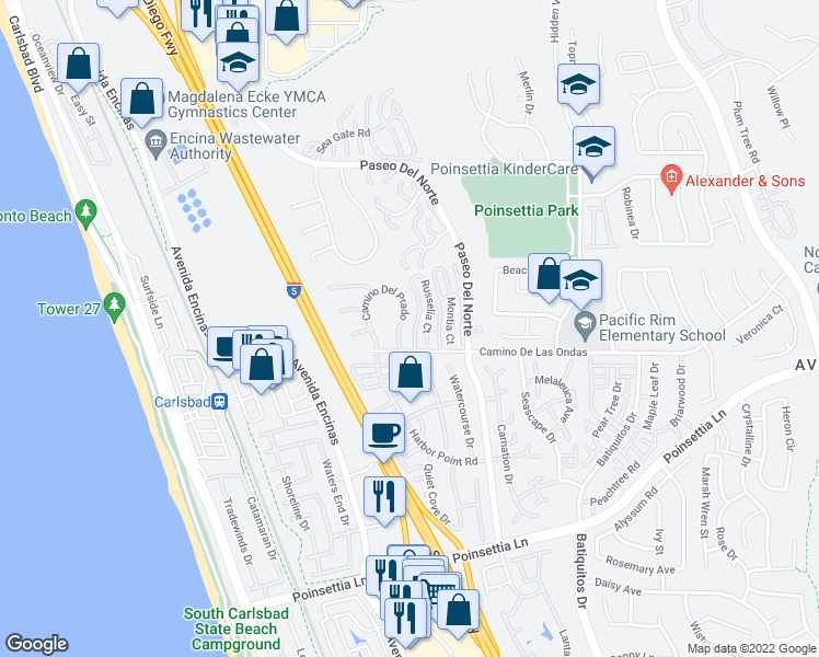 map of restaurants, bars, coffee shops, grocery stores, and more near 6749 Oleander Way in Carlsbad