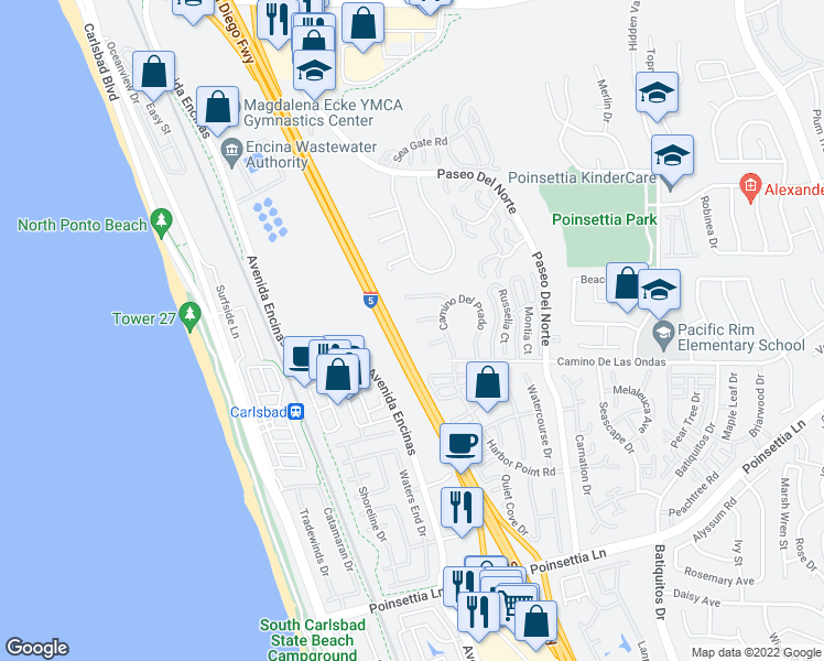 map of restaurants, bars, coffee shops, grocery stores, and more near 805 Caminito Rosa in Carlsbad