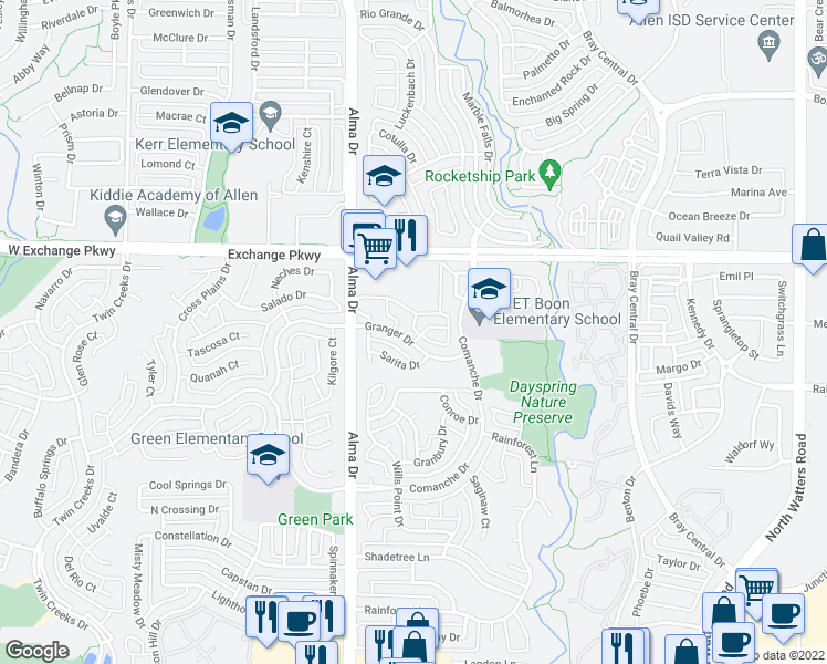 map of restaurants, bars, coffee shops, grocery stores, and more near 903 West McDermott Drive in Allen