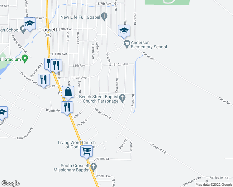 map of restaurants, bars, coffee shops, grocery stores, and more near Cypress Street in Crossett