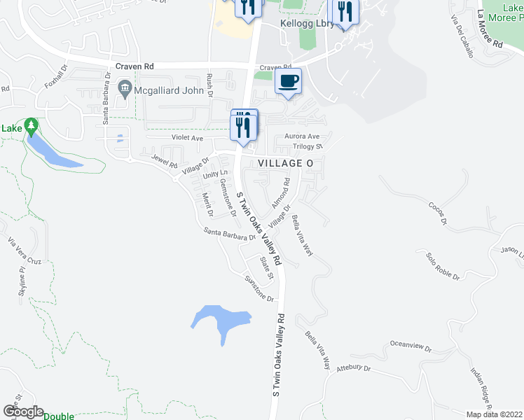 map of restaurants, bars, coffee shops, grocery stores, and more near 768 Hatfield Drive in San Marcos