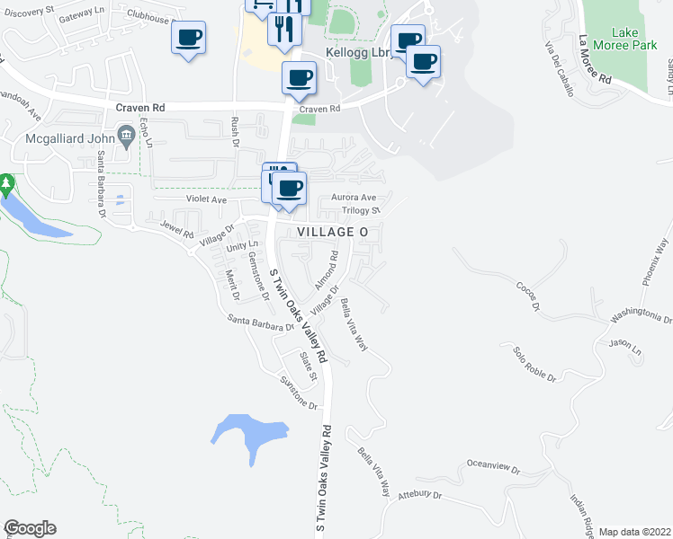 map of restaurants, bars, coffee shops, grocery stores, and more near 527 Almond Road in San Marcos