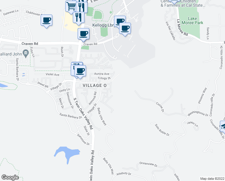 map of restaurants, bars, coffee shops, grocery stores, and more near 862 Ballow Way in San Marcos