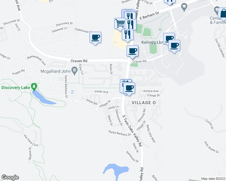 map of restaurants, bars, coffee shops, grocery stores, and more near 850 Village Drive in San Marcos