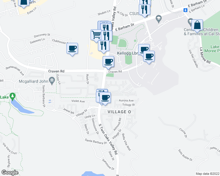 map of restaurants, bars, coffee shops, grocery stores, and more near 601 South Twin Oaks Valley Road in San Marcos