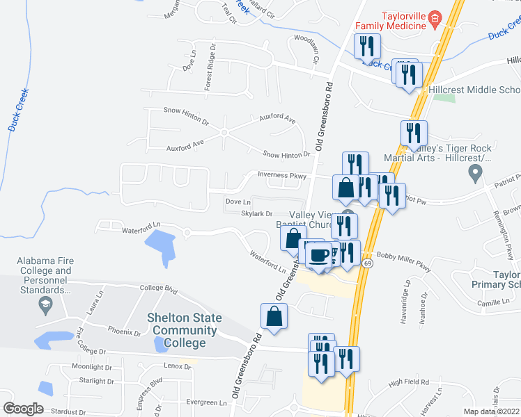 map of restaurants, bars, coffee shops, grocery stores, and more near 8816 Old Greensboro Road in Tuscaloosa