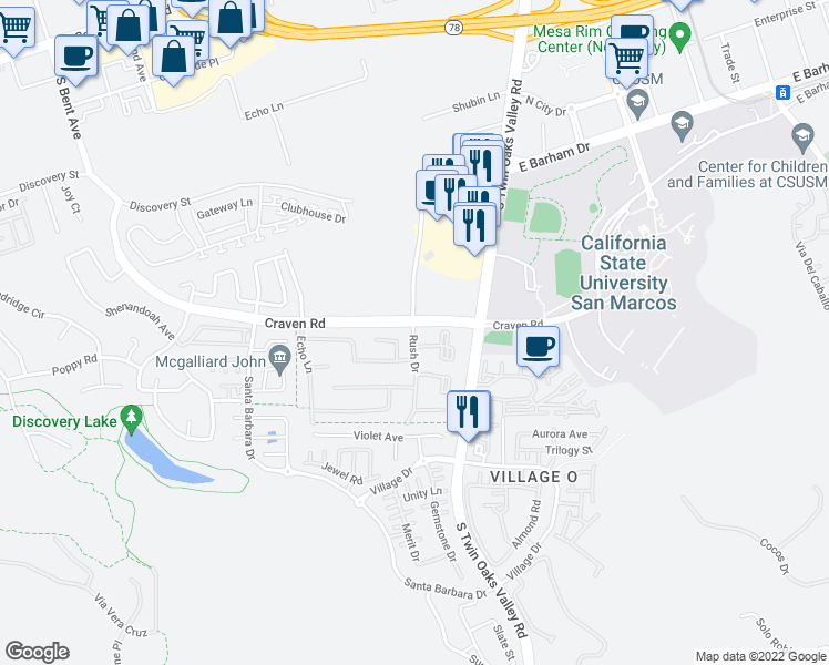 map of restaurants, bars, coffee shops, grocery stores, and more near 136 Craven Road in San Marcos