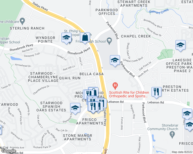 map of restaurants, bars, coffee shops, grocery stores, and more near 5678 Grosseto Drive in Frisco