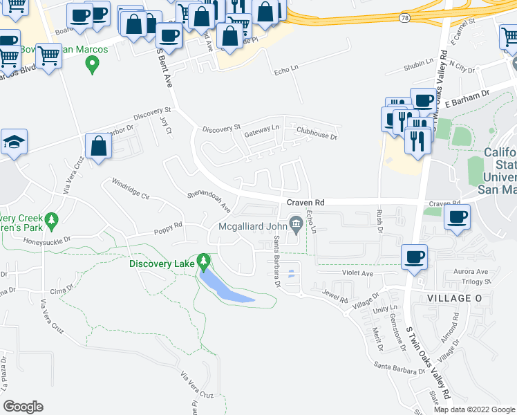 map of restaurants, bars, coffee shops, grocery stores, and more near 565 Summerholly Drive in San Marcos