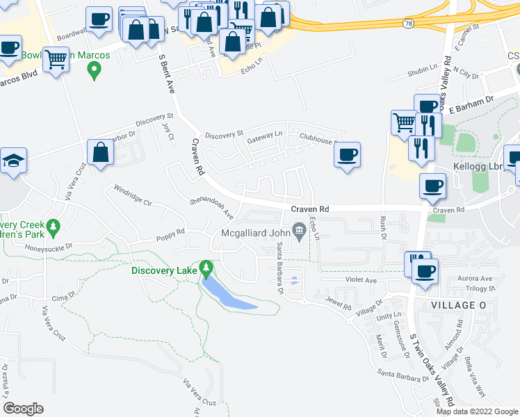map of restaurants, bars, coffee shops, grocery stores, and more near 569 Summerholly Drive in San Marcos