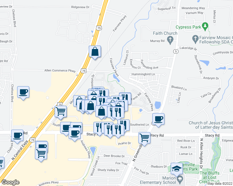 map of restaurants, bars, coffee shops, grocery stores, and more near 325 Murray Farm Drive in McKinney