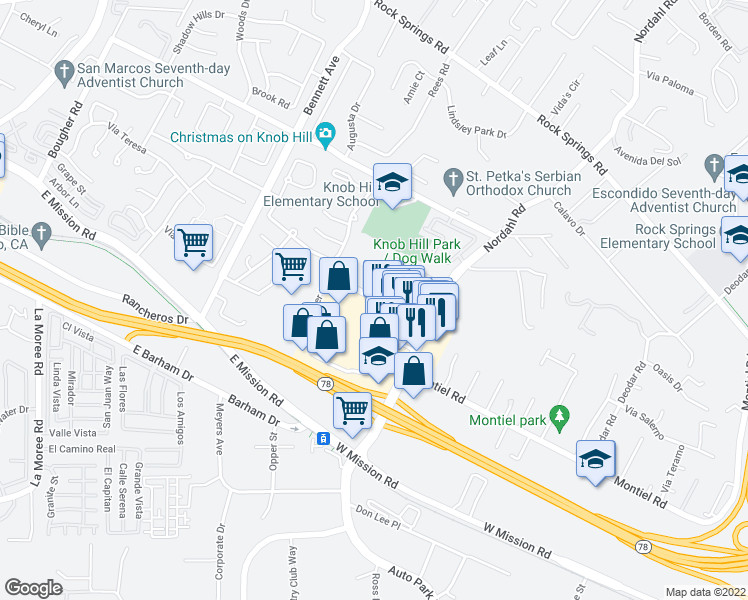 map of restaurants, bars, coffee shops, grocery stores, and more near Center Drive & Avenida Ricardo in San Marcos