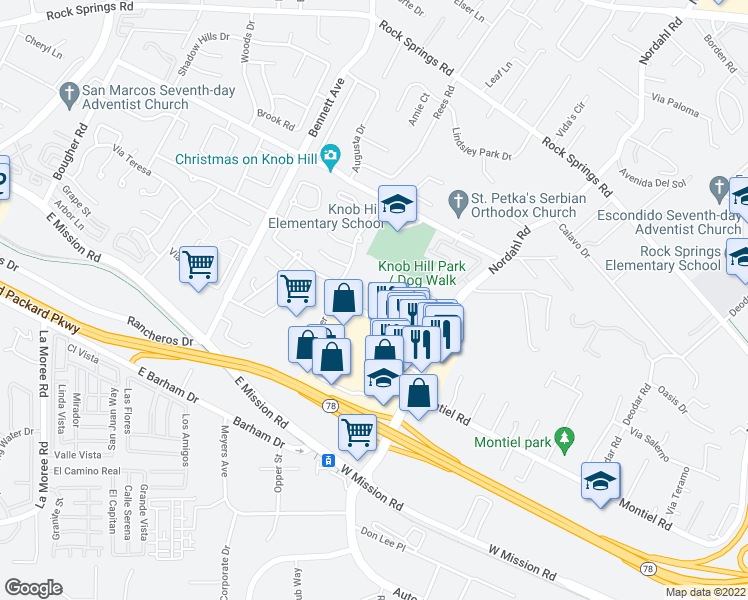 map of restaurants, bars, coffee shops, grocery stores, and more near 736 Center Drive in San Marcos