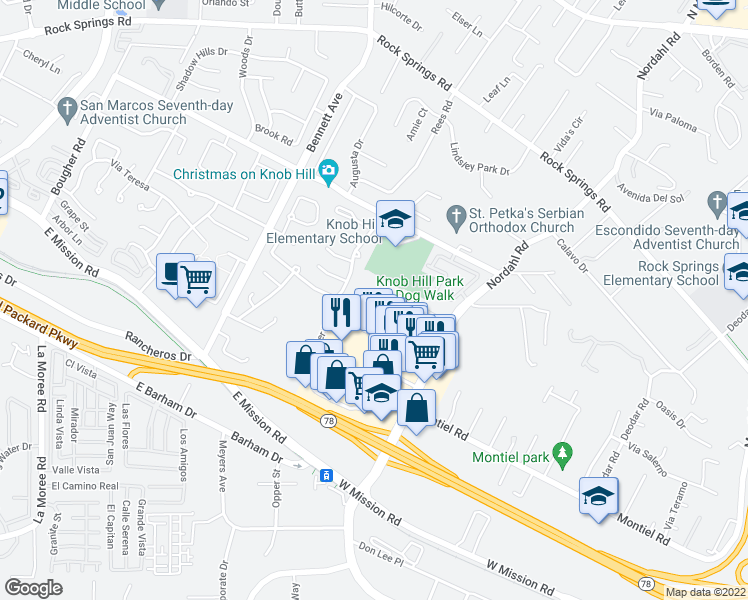 map of restaurants, bars, coffee shops, grocery stores, and more near 852 Avenida Ricardo in San Marcos