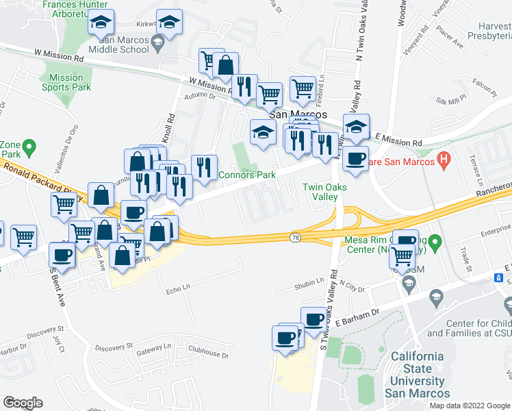 map of restaurants, bars, coffee shops, grocery stores, and more near 353 West San Marcos Boulevard in San Marcos