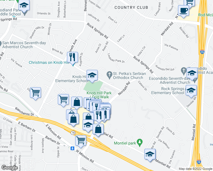 map of restaurants, bars, coffee shops, grocery stores, and more near 1898 Matin Circle in San Marcos