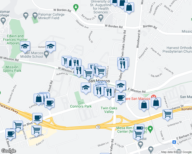 map of restaurants, bars, coffee shops, grocery stores, and more near 256 West Mission Road in San Marcos