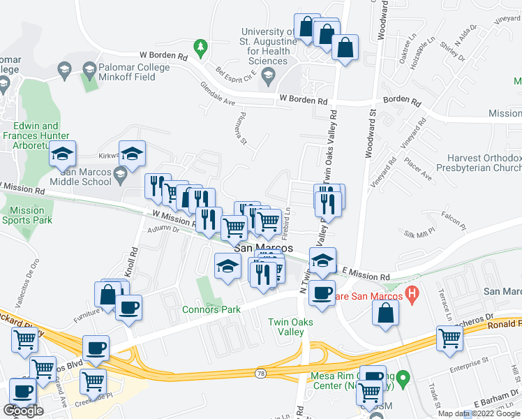 map of restaurants, bars, coffee shops, grocery stores, and more near 340 Pleasant Way in San Marcos