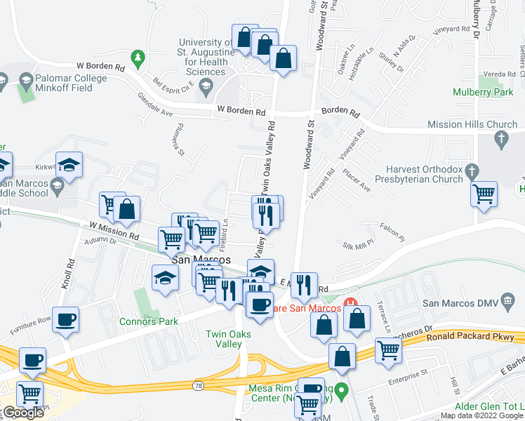 map of restaurants, bars, coffee shops, grocery stores, and more near 468 North Twin Oaks Valley Road in San Marcos