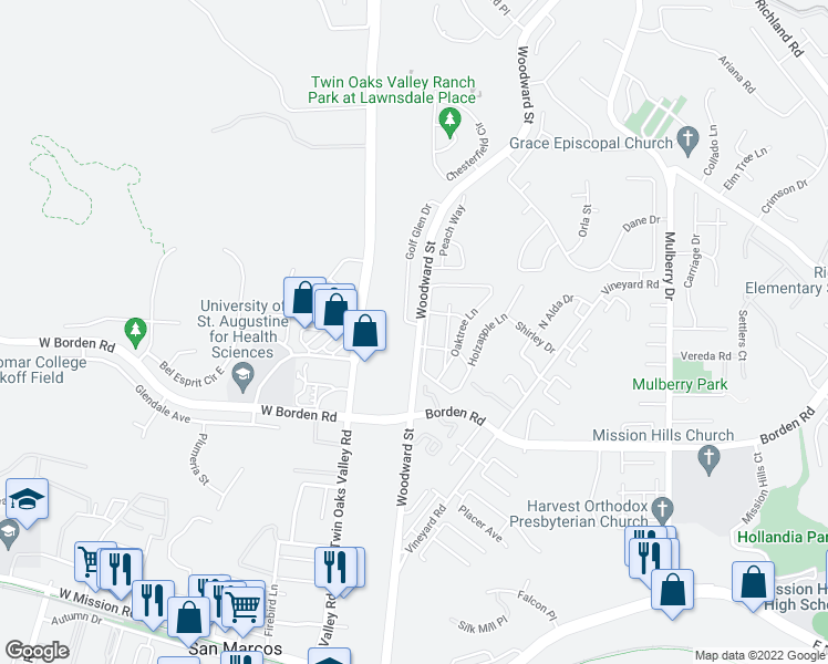 map of restaurants, bars, coffee shops, grocery stores, and more near 500 Golf Glen Drive in San Marcos