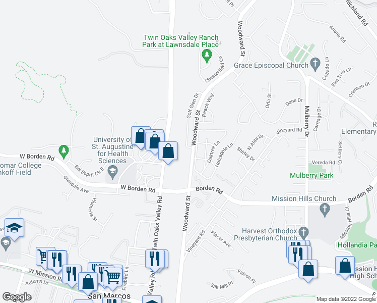 map of restaurants, bars, coffee shops, grocery stores, and more near 502 Golf Glen Drive in San Marcos