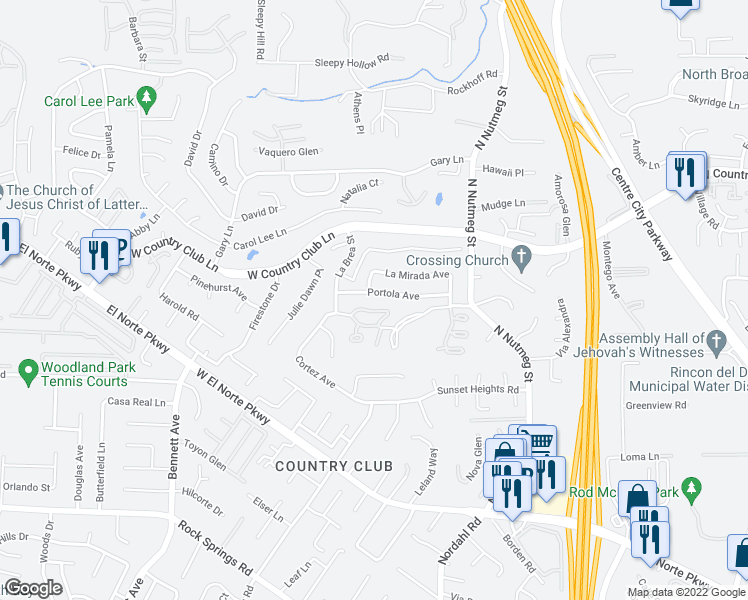 map of restaurants, bars, coffee shops, grocery stores, and more near 1331 Portola Avenue in Escondido
