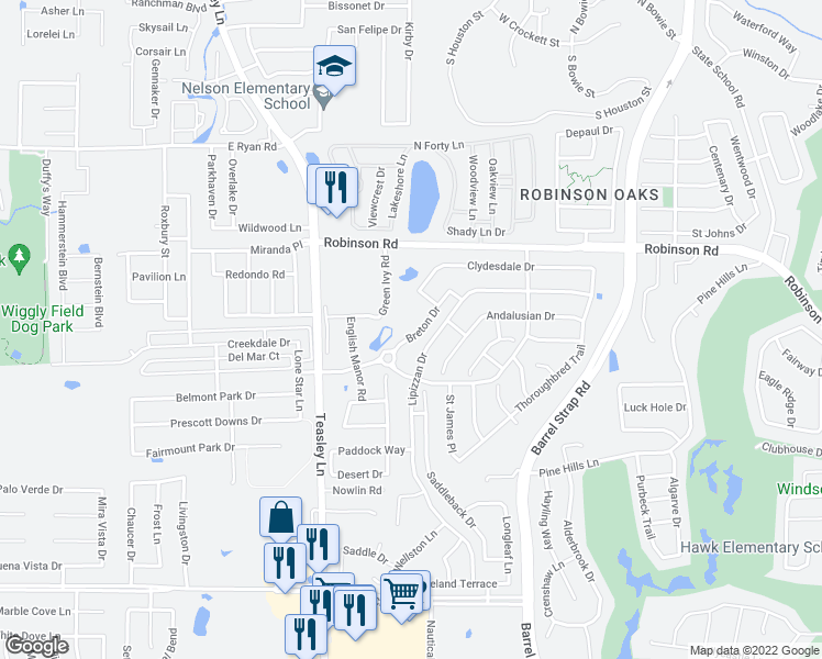 map of restaurants, bars, coffee shops, grocery stores, and more near 3107 Breton Drive in Denton
