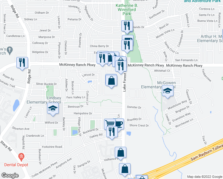 map of restaurants, bars, coffee shops, grocery stores, and more near 5001 McKinney Ranch Parkway in McKinney