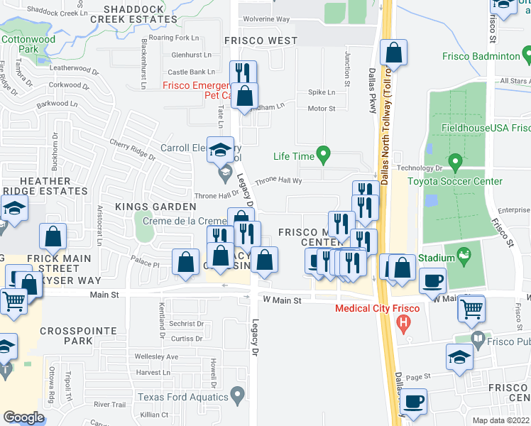 map of restaurants, bars, coffee shops, grocery stores, and more near Printers Way in Frisco