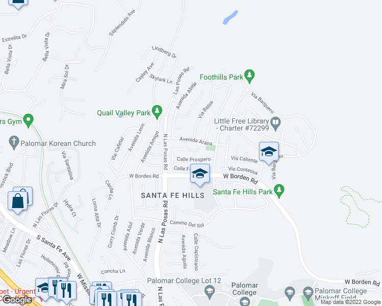 map of restaurants, bars, coffee shops, grocery stores, and more near 1345 Corte Lira in San Marcos