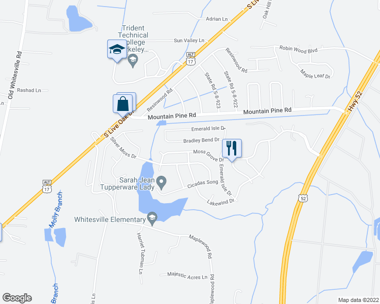 map of restaurants, bars, coffee shops, grocery stores, and more near 1163 Moss Grove Drive in Moncks Corner
