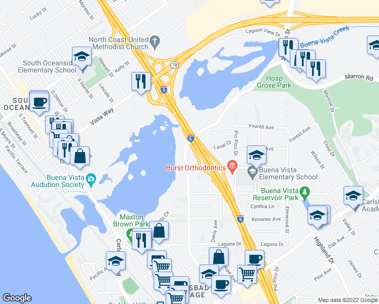 map of restaurants, bars, coffee shops, grocery stores, and more near 2380 Jefferson Street in Carlsbad