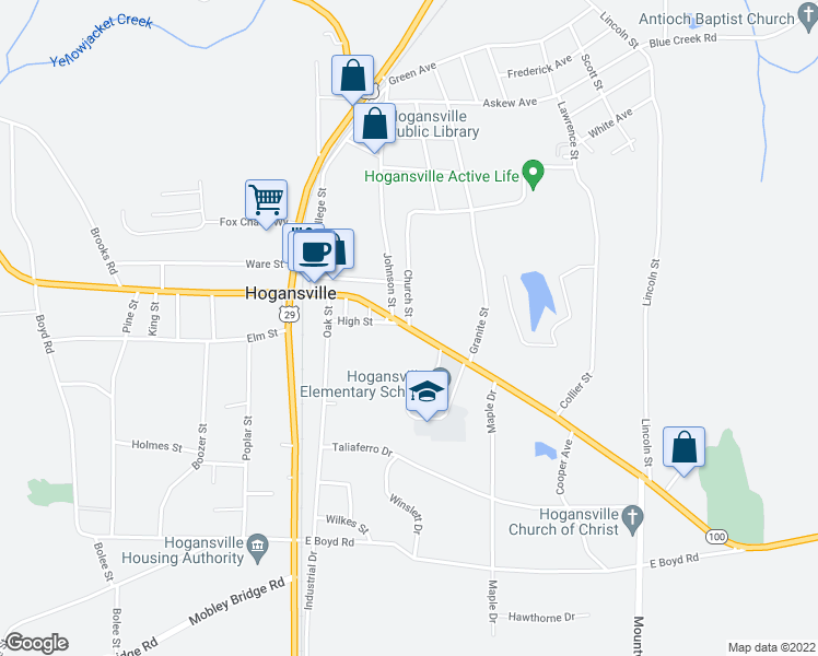 map of restaurants, bars, coffee shops, grocery stores, and more near 500 East Main Street in Hogansville