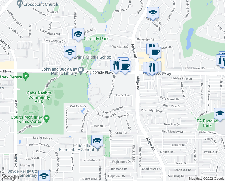 map of restaurants, bars, coffee shops, grocery stores, and more near 3214 Hudson Crossing in McKinney
